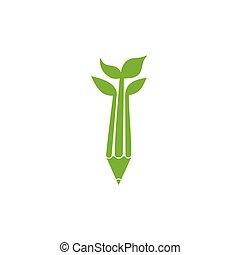 feuille, logo, vert, naturel, education, système, vecteur, crayon