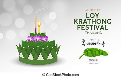 feuille, loy, krathong, matériel, thaïlande, conception, festival, banane