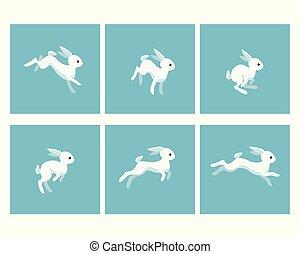 feuille, lutin, courant, animation, lapin, dessin animé