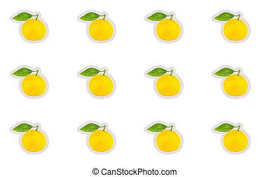 feuille, mûre, autocollant, isolé, jaune, base, conception, fond, mandarin, blanc vert, icône