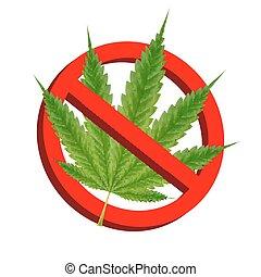 feuille, marijuana, prohibition, vecteur, vert, signes