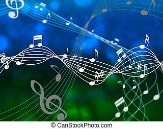 feuille, moyens, notes, ciel, musique, résumé