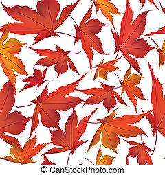 feuille, nature, feuilles, pattern., seamless, automne, arrière-plan., automne, floral