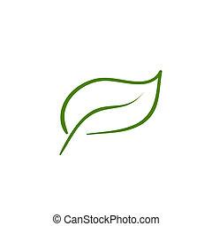feuille, nature, icône, vecteur