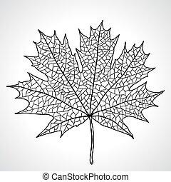 feuille, nature, symbole, vecteur, monochrome, érable