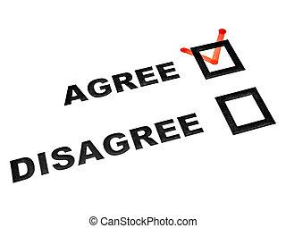 feuille, ne pas être d'accord, consentir, boîtes, blanc, tique, chèque