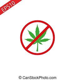 feuille, non, circle., marijuana, isolé, prohibition, drugs., cannabis, arrière-plan., vector., blanc, signe, interdit, rouges, icône