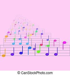 feuille, notes, musique, coloré