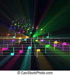 feuille, notes, musique, incandescent, coloré