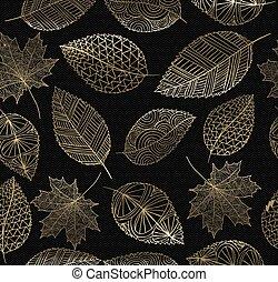 feuille, or, automne, automne, concept