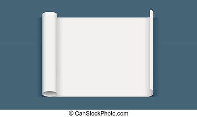feuille, paper., tordu, rouleau, papier, transparence, blanc, animation, 3d