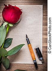 feuille papier, à, rouges, bouton rose, stylo fontaine, vacances, concept