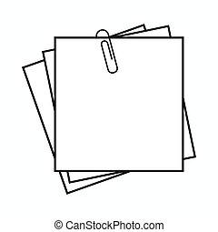 Style, feuille, contour, notes, papier, icône. Toile ...