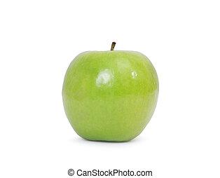 feuille, pomme, isolé, arrière-plan vert, blanc