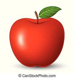 feuille, pomme, isolé, arrière-plan vert, blanc rouge