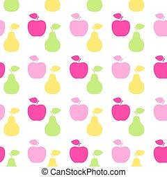 feuille, pomme, poire, symbole., signe, fruit, grille, seamless, icon.