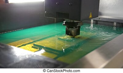 feuille, processus, métal, -, usine, eau, découpage, automatique