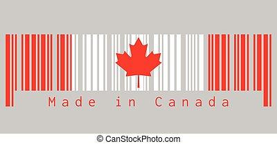 feuille rouge, text:, drapeau, triband, barcode, vertical, fait, canada., couleur, canada, blanc, ensemble, érable