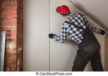 feuille, salle, mur, installation, grenier, construction, placoplâtre, homme