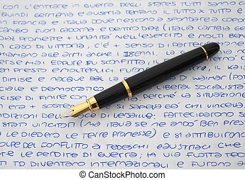 feuille, stylo, fontaine