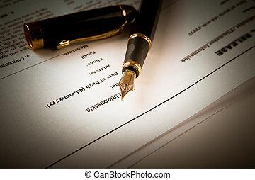 feuille, texte, contrat, stylo, papier, fontaine