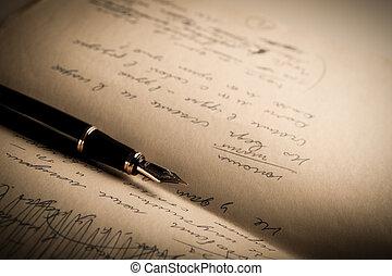feuille, texte, stylo, papier, fontaine,  2