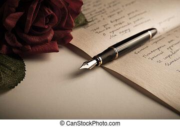 feuille, texte, stylo, papier, fontaine,  rose