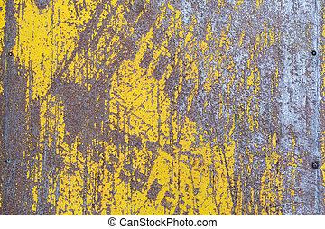 feuille, texture, métal, porté, peinture, jaune