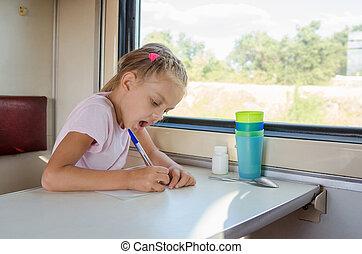 feuille,  train, stylo, voiture, papier, dessine,  girl,  second-class