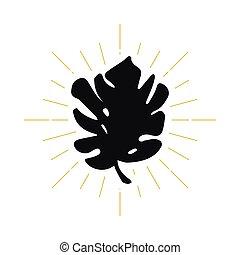 feuille tropicale, silhouette, retro, logo