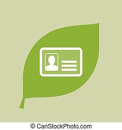 feuille, vecteur, vert, carte identification, icône