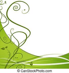 feuille vigne, arrière-plan vert, nature