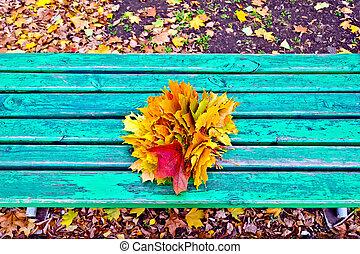feuilles, érable, banc