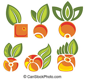 feuilles, étiquettes, vert, fruits