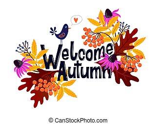 feuilles, accueil, automne, vecteur, mots, automne, carte