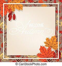 feuilles, accueil, texte, fond, frame., automne