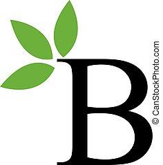 feuilles, alphabet, b, vert