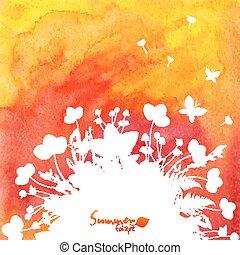 feuilles, aquarelle, silhouettes, fond, blanc rouge