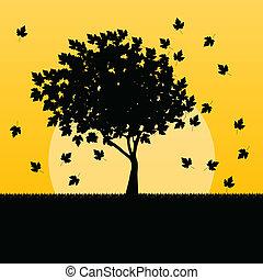 feuilles, arbre, automne, vecteur, érable, fond, paysage