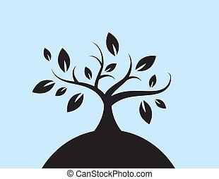 feuilles, arbre, colline, silhouette