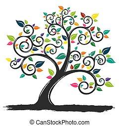 feuilles, arbre, coloré, illustration