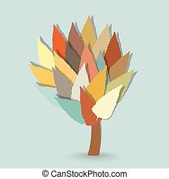 feuilles, arbre, froid, fond