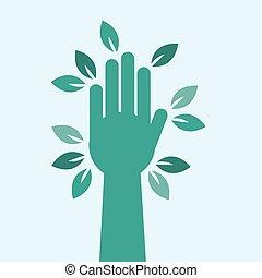 feuilles, arbre, main