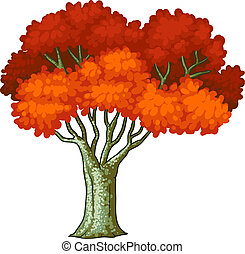 feuilles, arbre, rouges