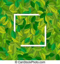 feuilles, arbre, signe, vert, gabarit, vide