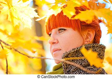 feuilles, arrière-plan rouge, portrait, girl, érable