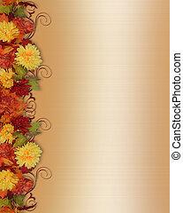 feuilles autome, et, fleurs, frontière