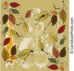 feuilles, automnal, fond, seamless