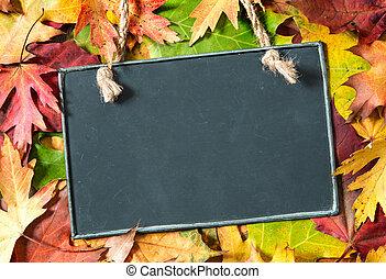 feuilles, automnal, tableau