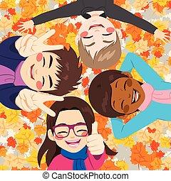 feuilles automne, amis